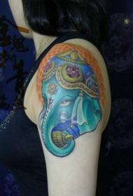 一款女孩子手臂彩色象神纹身图案