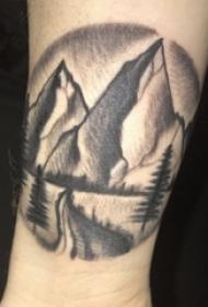 小腿上黑白点刺技巧几何元素山水风景图片