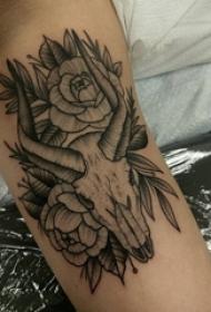 手腕上黑白线条点刺技巧动物羊头纹身图片