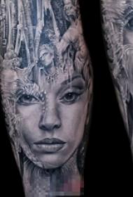 超现实主义黑白点刺技巧人物肖像纹身图案