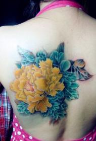 美女背部好看的黄色牡丹花纹身图案