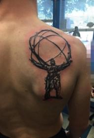 男生背部黑色抽象素描动漫卡通纹身图片