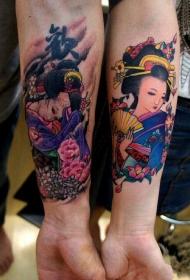 情侣手臂内侧艺妓美女纹身图案