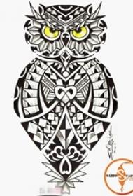 严肃的黑色几何植物纹身猫头鹰纹身手稿