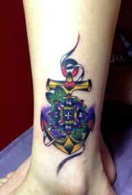 女人腿部時尚唯美的花朵船錨紋身圖案