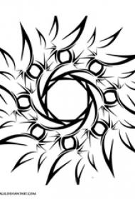 黑色的笼统的几何线条太阳图腾纹身手稿素材