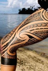 女生大腿上创意个性文艺小清新唯美纹身图案