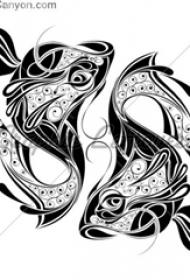 漂亮的黑色几何对称小植物纹身鱼纹身手稿素材