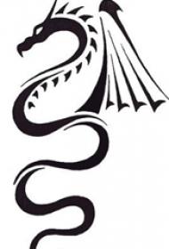黑色的展开翅膀的小火龙纹身动物简单线条纹身手稿