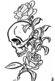 黑色的玫瑰花和骷髅头的简单线条纹身手稿素材