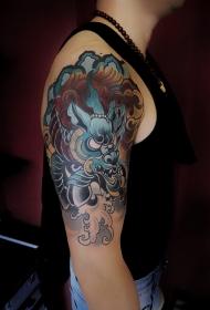 大臂霸气麒麟彩绘纹身图案