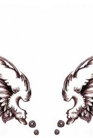 黑色的素描風格羽毛大型天使翅膀紋身手稿+++天使,惡魔翅膀,手稿,手稿素材,羽毛,翅膀,黑色,素描