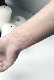 手腕清新的白色隐形橄榄枝纹身图案