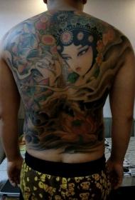 满背莲花和花旦彩绘纹身图案