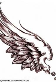 黑色的素描风格羽毛大型天使翅膀纹身手稿