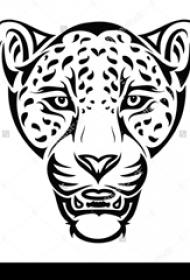 黑色的豹子头纹身植物图腾纹身手稿素材