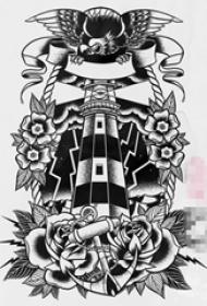 黑色素描創意個性花朵和老鷹燈塔紋身手稿