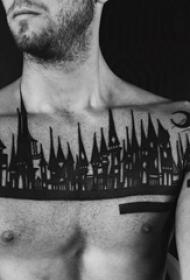 黑色素描古典建筑個性紋身圖案