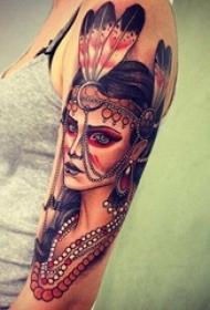 多款创意个性的印第安元素唯美人像纹身图案