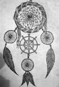 黑灰素描创意文艺梦幻捕梦网纹身手稿
