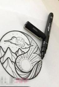 黑色线条素描创意风景阴阳八卦纹身手稿