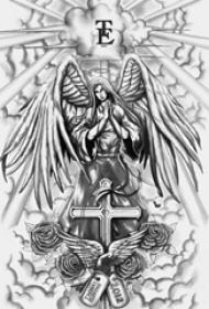 黑灰素描创意经典唯美图腾天使翅膀纹身手稿