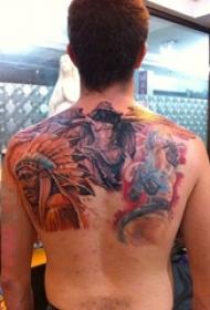 关于部落原住民的人物肖像印第安人纹身图案
