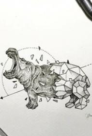 黑色线条素描创意动物河马几何元素抽象纹身手稿