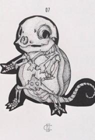 黑色线条素描创意卡通动漫骨头纹身手稿