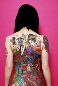 传统时尚的满背抽象线条创意艺妓纹身图案