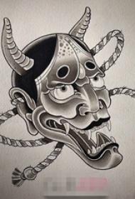 经典的黑色抽象线条传统般若面具纹身手稿