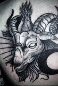 男生背部黑色素描点刺技巧动物羊头纹身图案