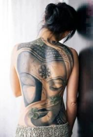 多款关于宗教普济群生的黑色点刺佛像纹身图案