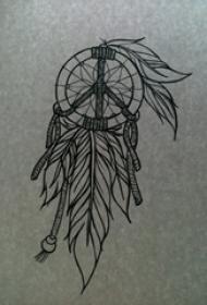 黑灰素描创意文艺唯美梦幻捕梦网纹身手稿