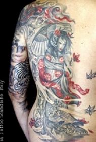日本文化经典唯美艺妓创意个性纹身图案