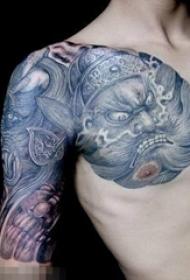 浩然正气的抽象线条传统人物钟馗纹身图案