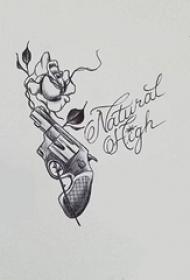个性的黑色几何线条英文单词花朵和手枪纹身手稿