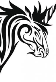 黑色线条素描创意独角兽纹身图案