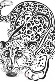 黑色线条创意花纹动物豹子纹身手稿