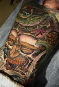 男生背部彩绘素描创意日本黑帮经典大面积满背纹身图片