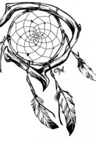 黑色线条创意唯美捕梦网纹身手稿