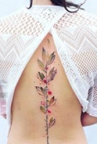 女生背部文藝小清新唯美創意脊椎骨紋身圖案