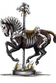 霸气的彩绘简单线条骷髅和动物马纹身手稿