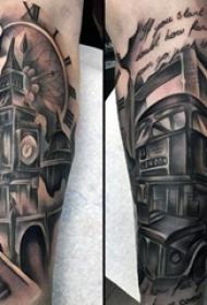 男生手臂上黑灰点刺立体几何雄伟建筑纹身图片