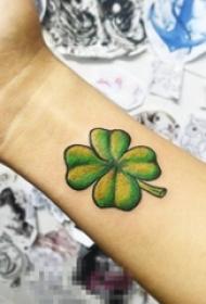 能带来幸运的彩绘小清新植物四叶草纹身图案