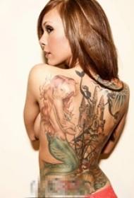 童话故事里的唯美性感美人鱼创意个性纹身图案