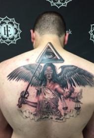 男生后背上黑灰点刺笼统线条创意天令人物纹身图片