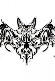 黑灰素描創意花紋恐怖蝙蝠紋身手稿