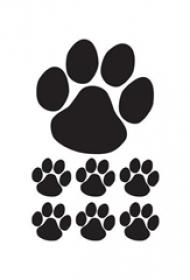 黑色素描创意轮廓可爱狗爪纹身手稿