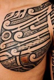男内行臂上黑色素描创意几何元素半甲纹身图片